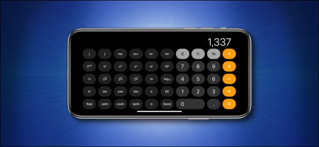 An Apple iPhone running the Calculator app in horizontal scientific mode.