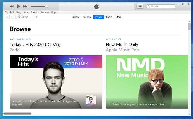 Browsing for music in iTunes on Windows 10.