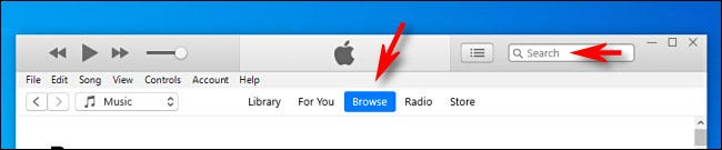 Browse or search in iTunes on Windows 10.
