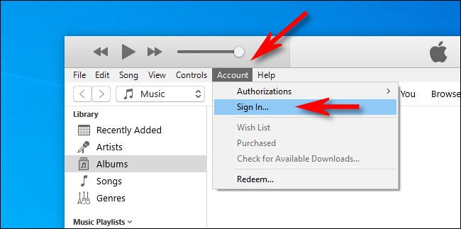 "In iTunes for Windows, select ""Account,"" then ""Sign In."""