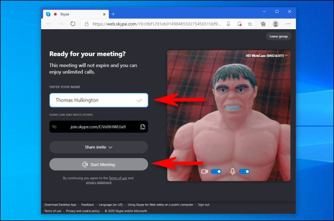 "In Skype ""Meet Now,"" enter your name then click ""Join a Meeting"""