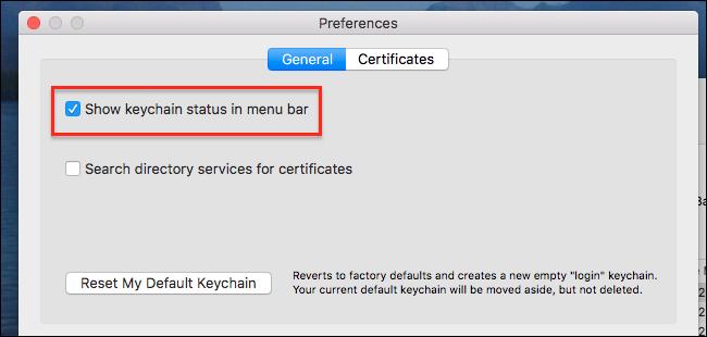 keychain access menubar