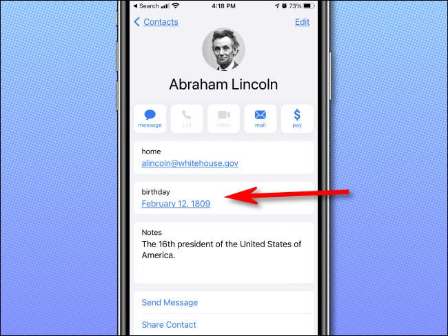 Investigate a birthday in the Apple iPhone Contacts app.