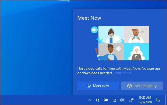 O pop-up Meet Now no Windows 10.