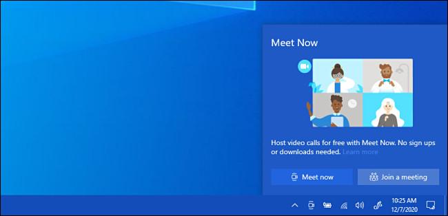 """The Windows 10 """"Meet Now"""" popup window"""