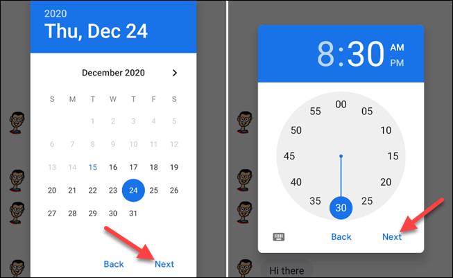 escolha a data e hora