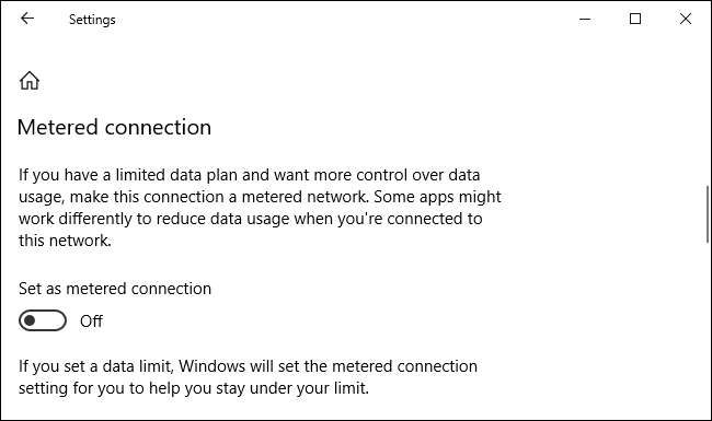"Activate ""Set as metered connection."""