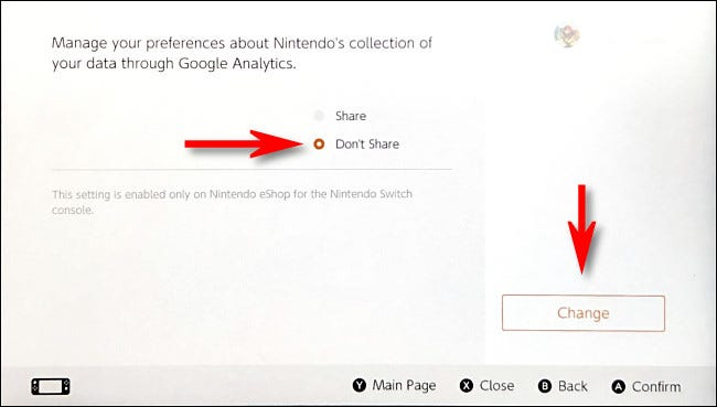 """On the Nintendo eShop Google Analytics options page, select """"Don't Share,"""" then select """"Change."""""""