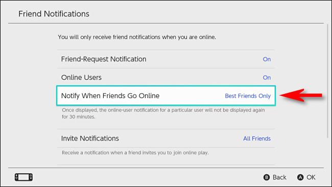 "In Switch User Settings, set ""Notify When Friends Go Online"" to ""Best Friends Only."""