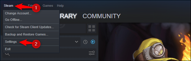 Click Steam > Settings.