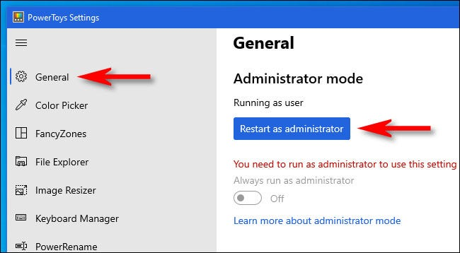 """Clique em """"Geral"""" e, em seguida, clique em """"Reiniciar como Administrador""""."""