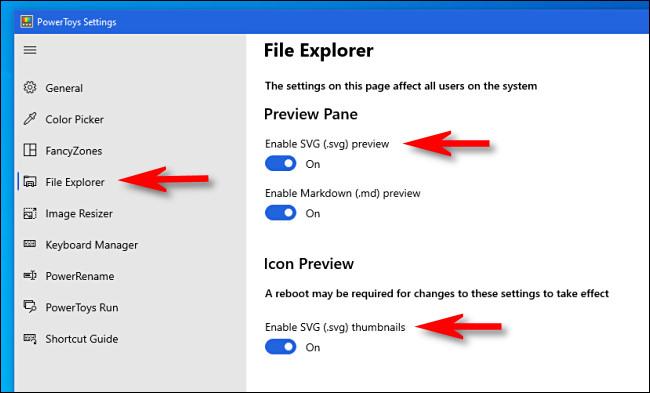"""Abra as configurações do PowerToys e clique em """"File Explorer"""" para ver as opções de SVG."""