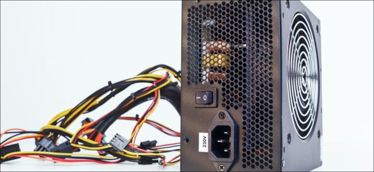 A power supply unit and its cables for a desktop PC.