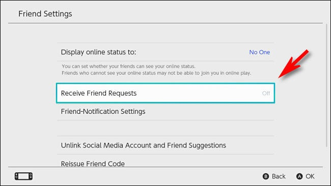 "In Switch User Settings, turn ""Receive Friend Requests"" to ""Off."""