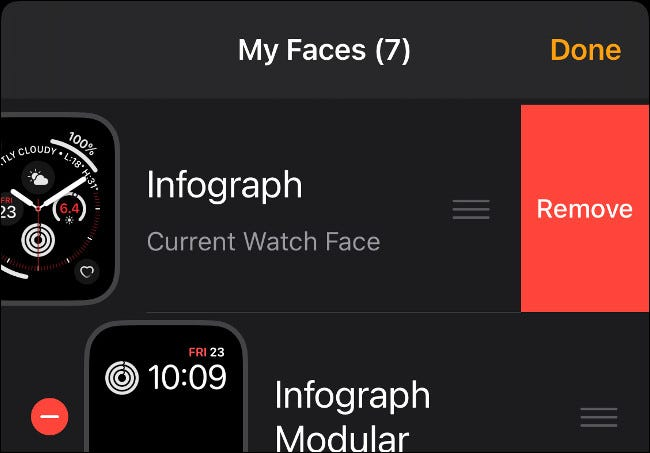 Remove Watch Face from iPhone