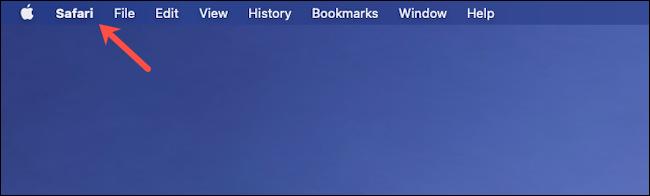 Click Safari in the menu bar