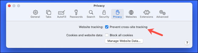 Enable cross-site tracking prevention on Safari