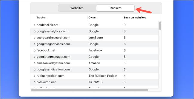 Check web trackers list on Safari