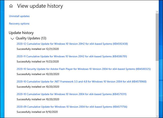 A telepített Windows 10 frissítések listája a Beállításokban.