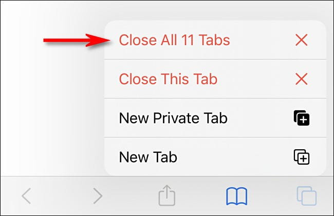 """In the menu that pops up, select """"Close All Tabs."""""""