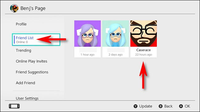 """On your Switch profile page, select """"Friend List,"""" then select the friend you'd like to make a Best Friend."""