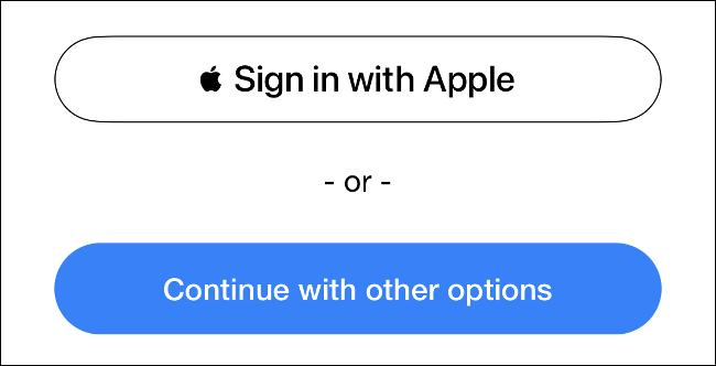 Faça login com o botão de login da Apple