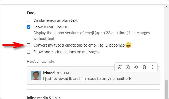 """In Slack Preferences, uncheck """"Convert my typed emoticons to emoji."""""""