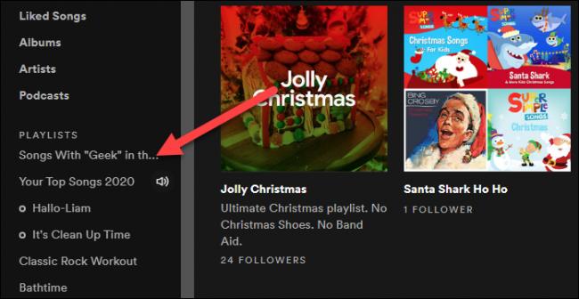 seleziona una playlist dalla barra laterale
