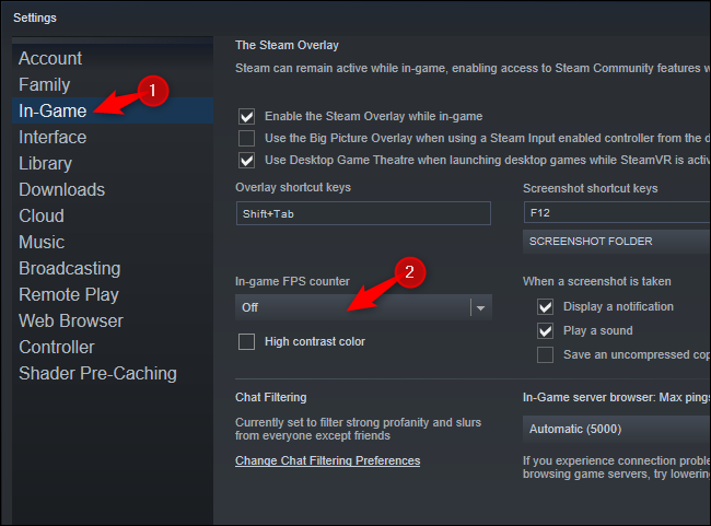 """Select """"In-Game"""" and choose an option from the """"In game FPS counter"""" box."""