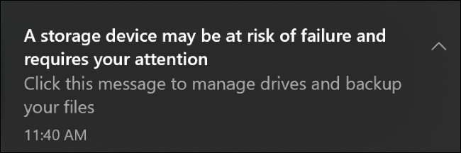 A storage device failure notification on Windows 10.