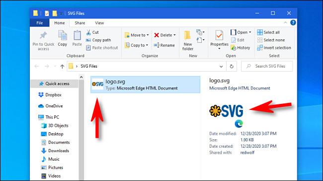 Exemplos de miniaturas SVG no Windows 10
