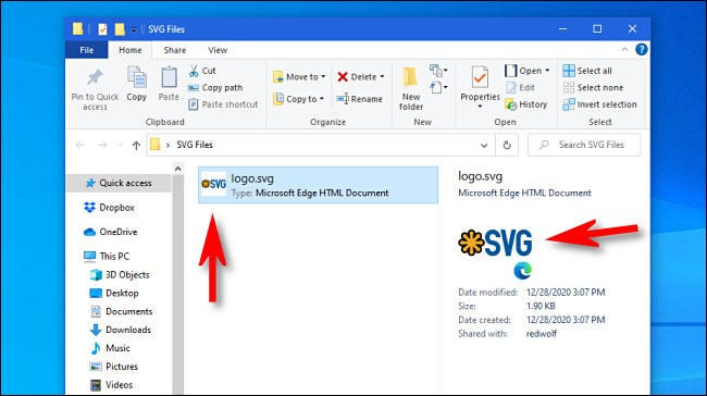 Examples of SVG thumbnails in Windows 10
