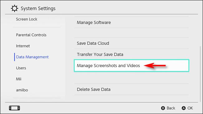 """Switch """"Veri Yönetimi"""" nde, """"Ekran Görüntülerini ve Videoları Yönet"""" i seçin."""