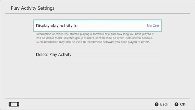 """Nintendo Switch """"Display play activity to"""" setting set to """"No one."""""""