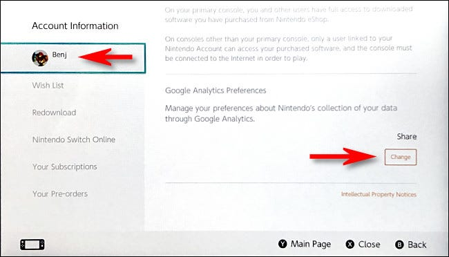 """On the account information screen, scroll down to the bottom of the page to the Google Analytics section and tap """"Change."""""""