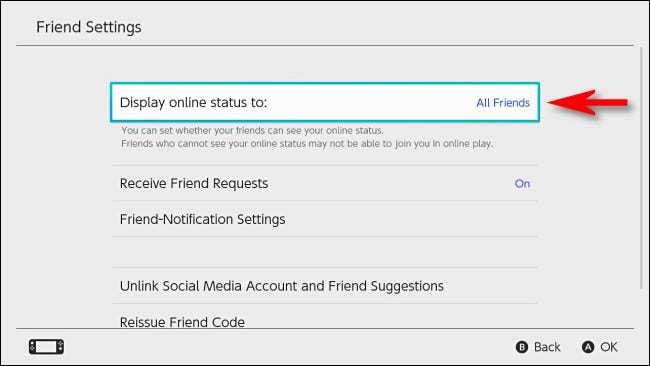 """In Switch user settings, select """"Display online status to."""""""