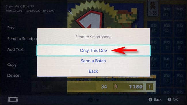 """In the """"Send to Smartphone"""" pop-up, tap """"Only This One."""""""