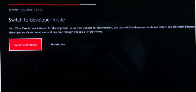 Switch to Developer Mode on Xbox