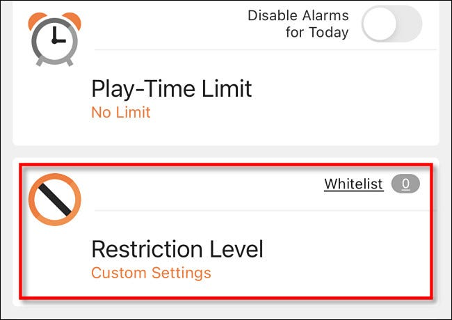 "Tap ""Restriction Level."""