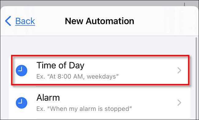 """In iPhone Shortcuts, tap """"Time of Day."""""""