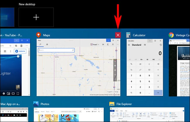 Closing a window in Windows 10 Task View by clicking the X button.