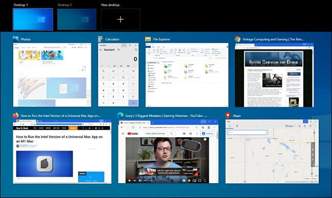 An example of Windows 10 Task View with many open windows.