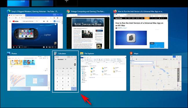 Selecting an app window in Windows 10 Task View using cursor keys.