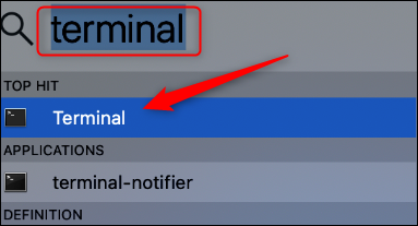 terminal app in spotlight search
