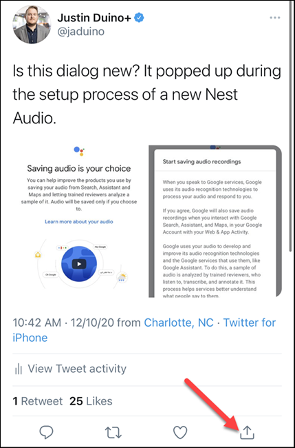 tap the share button on a tweet