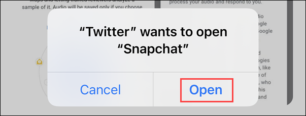 allow opening snapchat