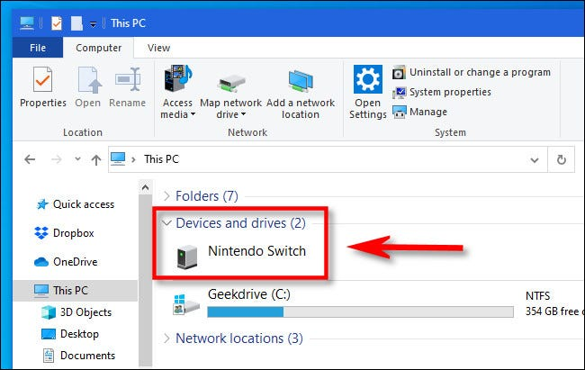 In Windows File Explorer, locate the Nintendo Switch and open it.