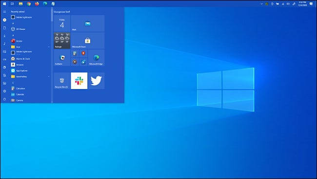 The Windows 10 Start menu at the top of the screen.