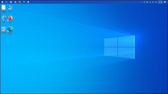 The Windows 10 taskbar at the top of the screen.