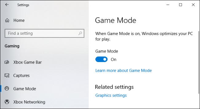 Game Mode settings on Windows 10